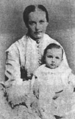 Manželka básníka Vítězslava Hálka s malým Ivanem v roku 1873