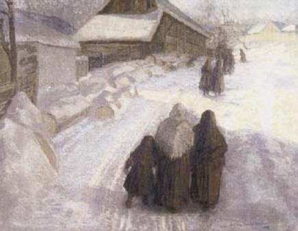 Elemír Halász - Hradil: Zima na dědině, 1909