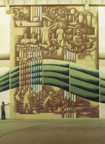 F. Chrástek: Monumentální malba ve vodní elektrárně Králová nad Váhem, 1986 (12x5m)