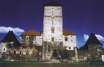 Švihov, pozdně gotický vodní hrad sežebříkem sochaře V.Fialy (2002)